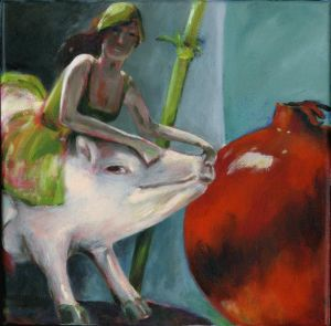 Ride on Pig, Acryl, 30 x 30 cm, 12' x 30'